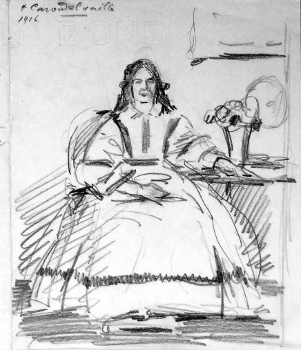 Caro-Delvaille's sketch of Martha Cook, courtesy of the Martha Cook Building Collection, Box 1, Bentley Historical Library, University of Michigan.